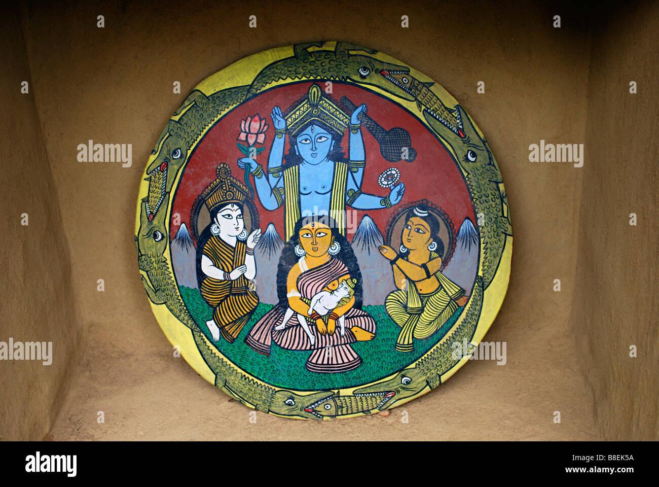 The Myth of the Ganga-Durga Clash, Manav Sangrahalaya, Bhopal, Madhya Pradesh, India. - Stock Image