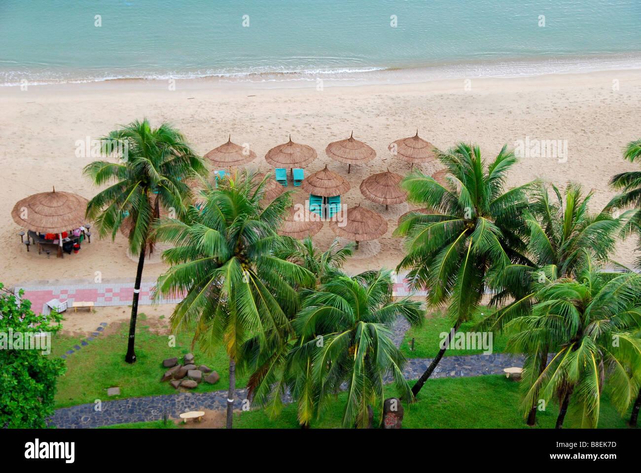 Straw Beach umbrellas, Nha Trang, Vietnam - Stock Image