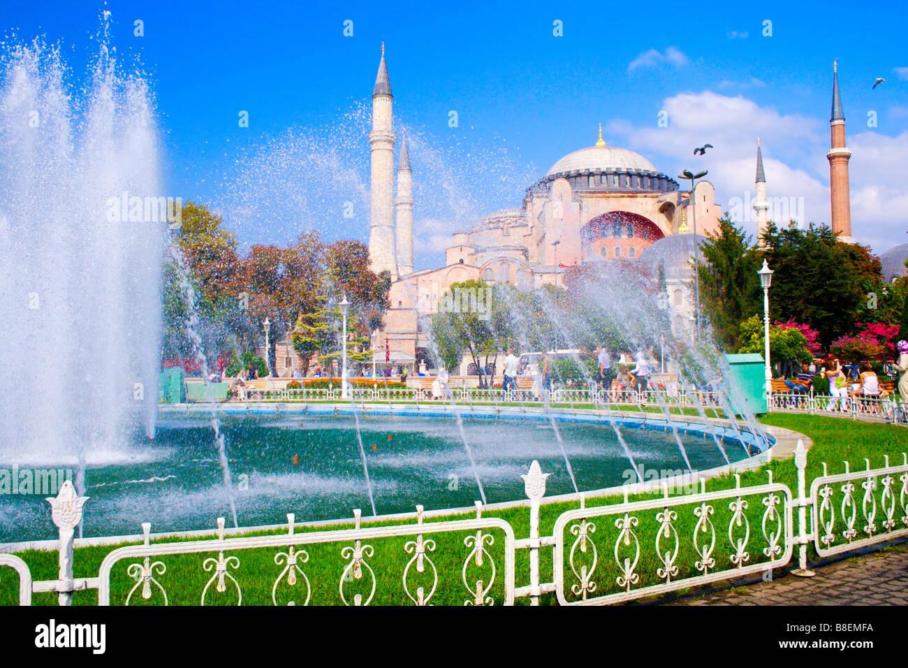 Touristic scenery Exterior view of Hagia Sophia Mosque Istanbul - Stock Image