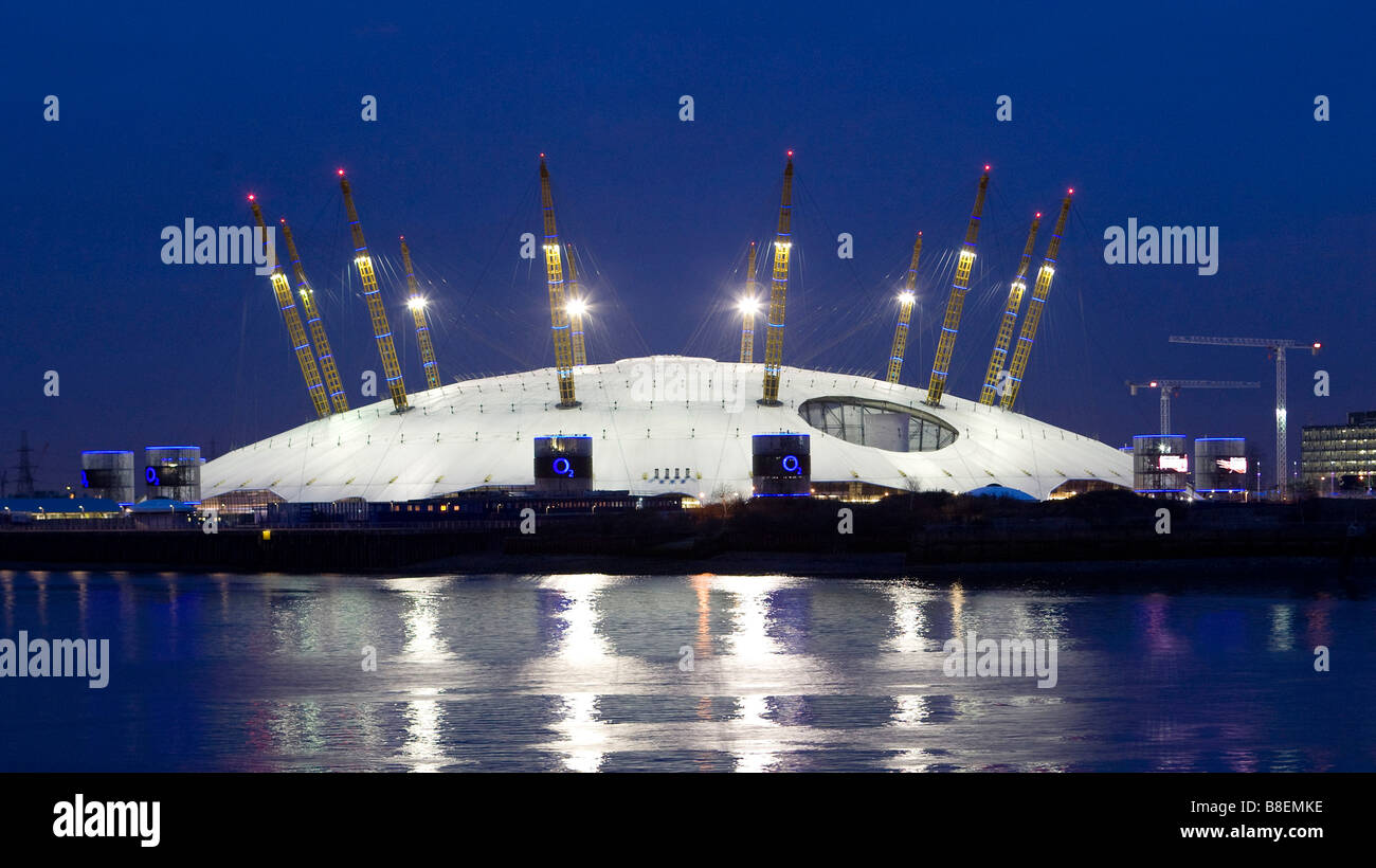 Views of The O2 Arena at night formerly The Millennium Dome on The Greenwich Peninsula River Thames London - Stock Image