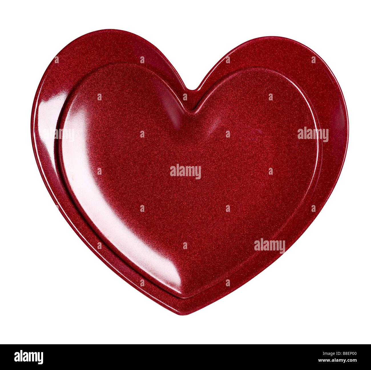 Plastic heart platter - Stock Image