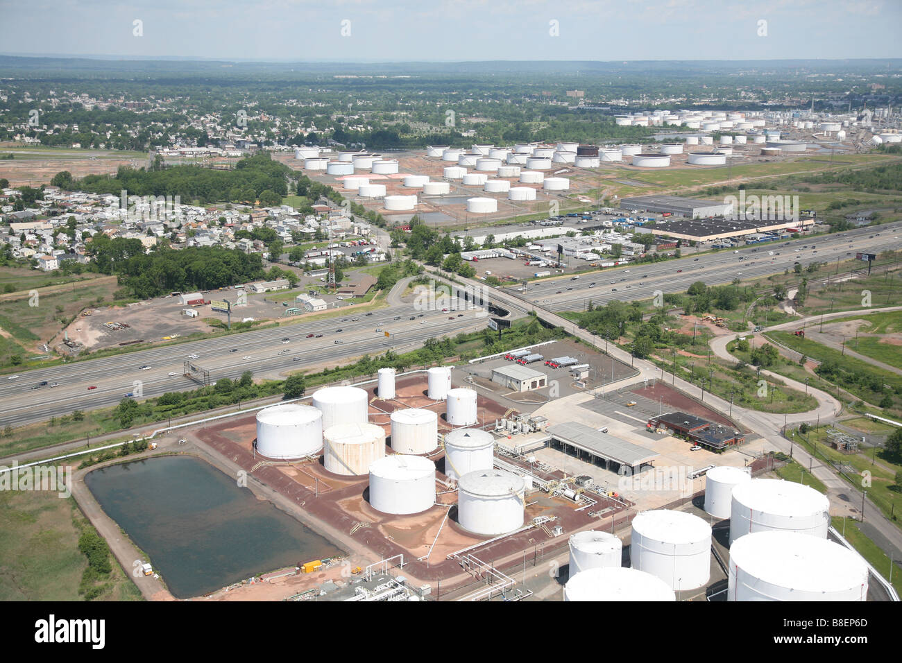 Beau Aerial View Of Oil Storage Tanks In Linden NJ, USA, United States Of America