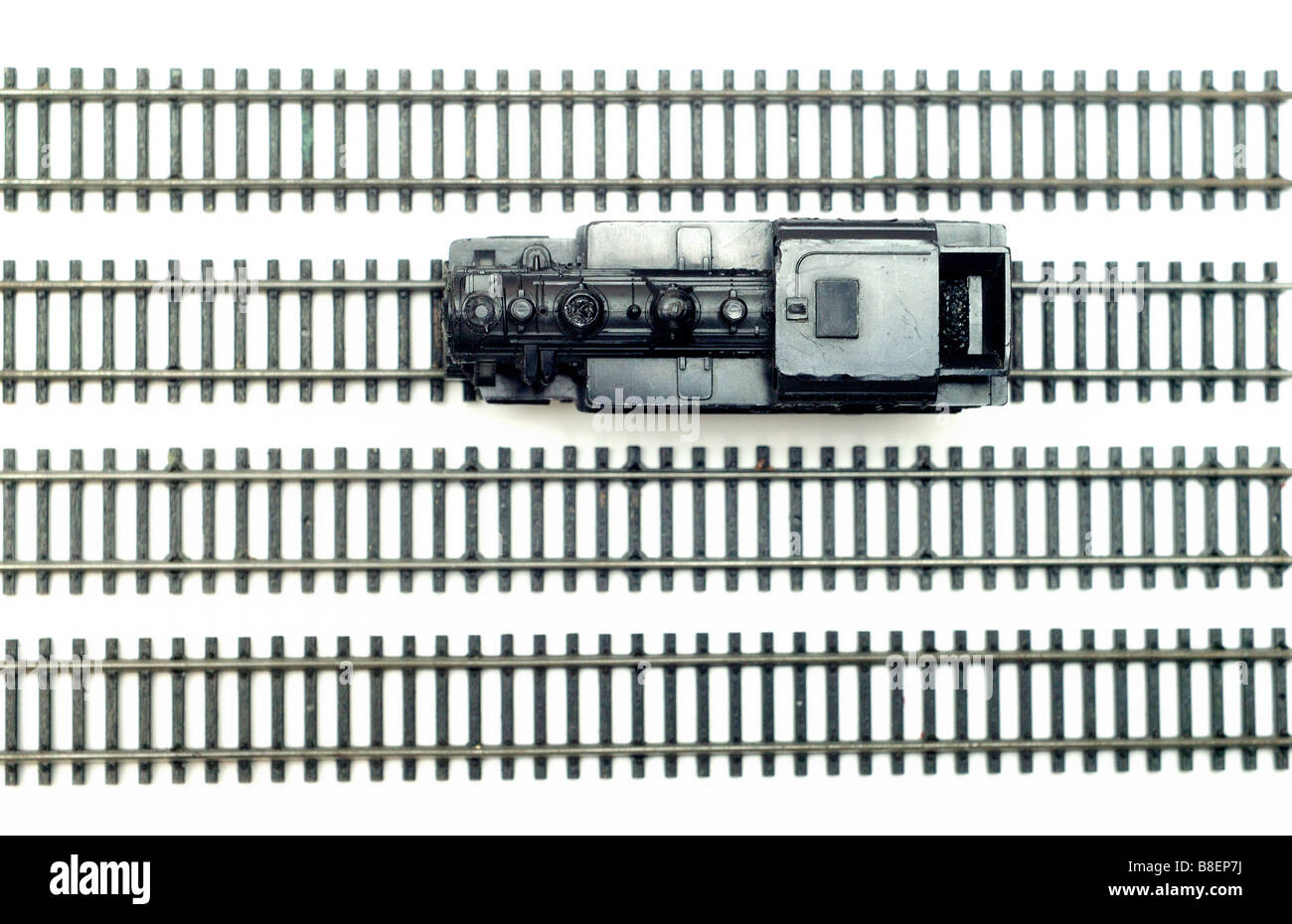 Steam locomotive engine and trains model railway cut out still life - Stock Image