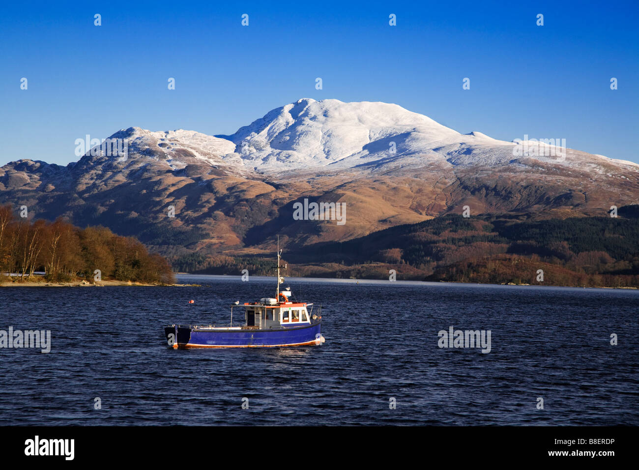 Loch Lomond and a snow capped Ben Lomond on a winters day Scotland Stock Photo