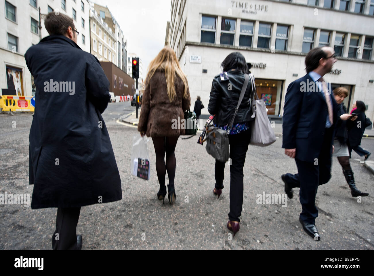Shoppers and passers by in Central  London - Stock Image