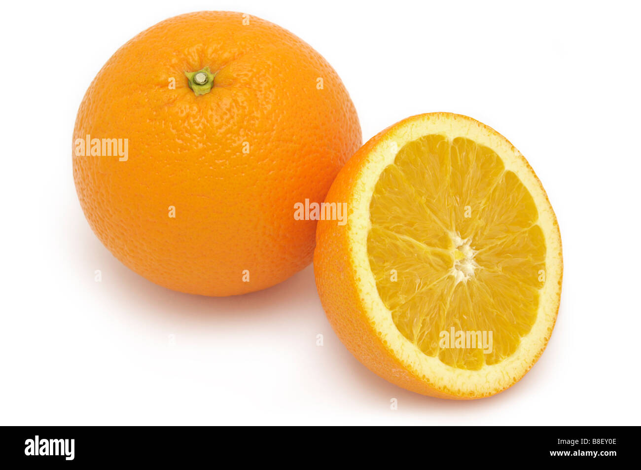 Whole Orange and Half Orange - Stock Image