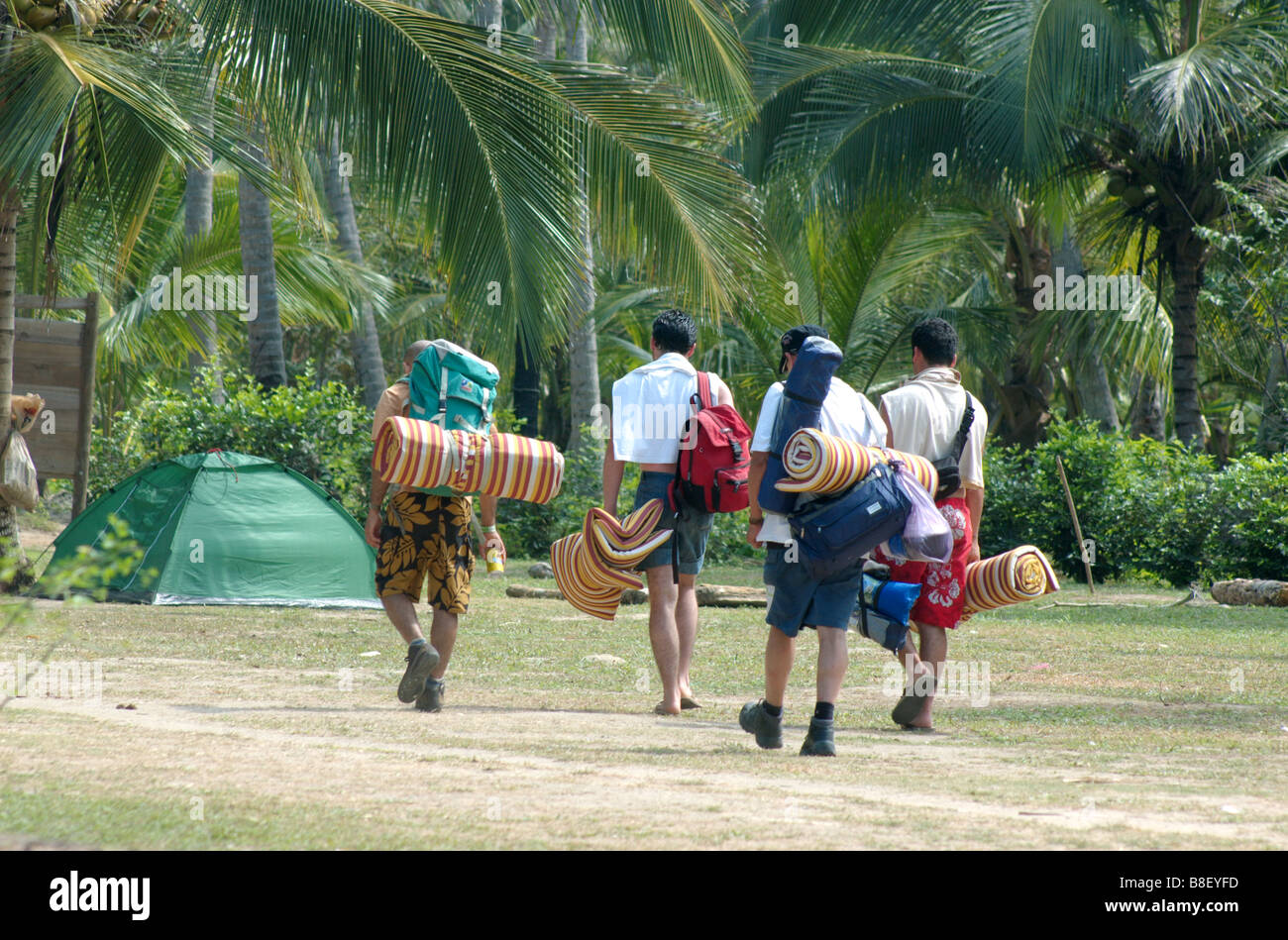 Back Packers In The Cabo San Juan De Guia Campground In Tayrona Park Stock Photo Alamy