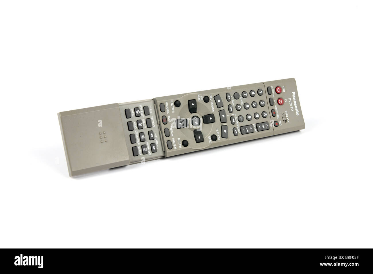 A DVD Blu Ray TV Recorder Wireless hand held Remote control unit against a white background - Stock Image