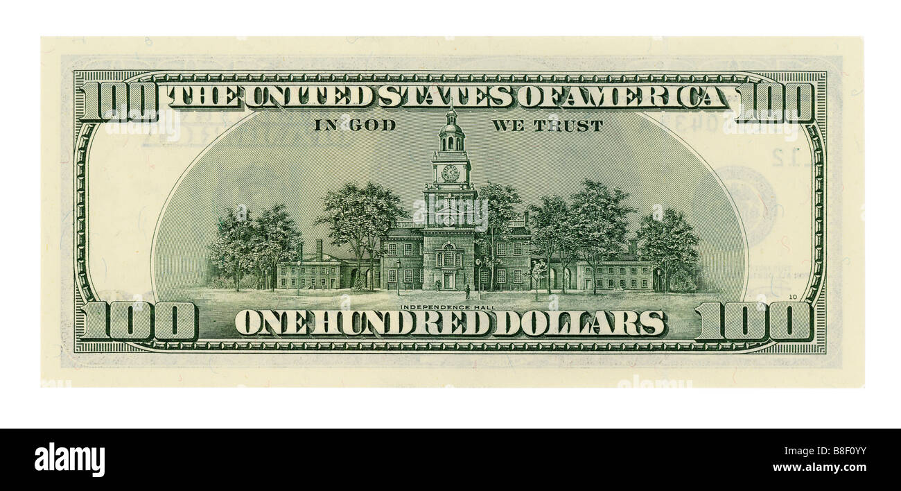 One hundred dollar bill isolated on white background. NATIVE SIZE, NOT UPSCALED. - Stock Image