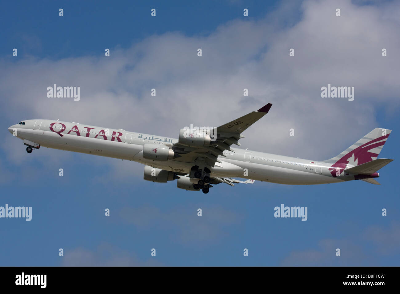 Qatar Airways Airbus A340-642 departure at London Heathrow Airport, United Kingdom Stock Photo
