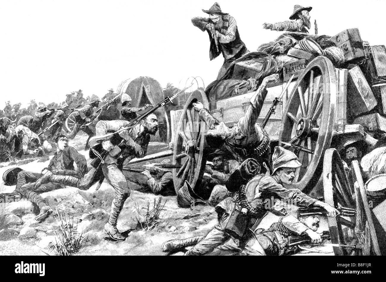 Boer Assault on British Colony - Stock Image