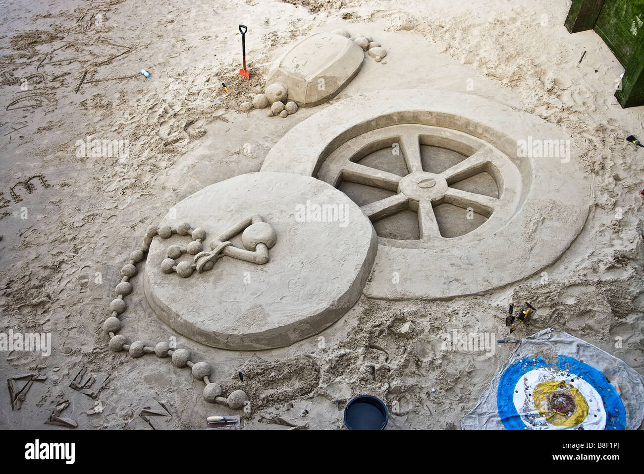 A plug hole made of sand - Stock Image