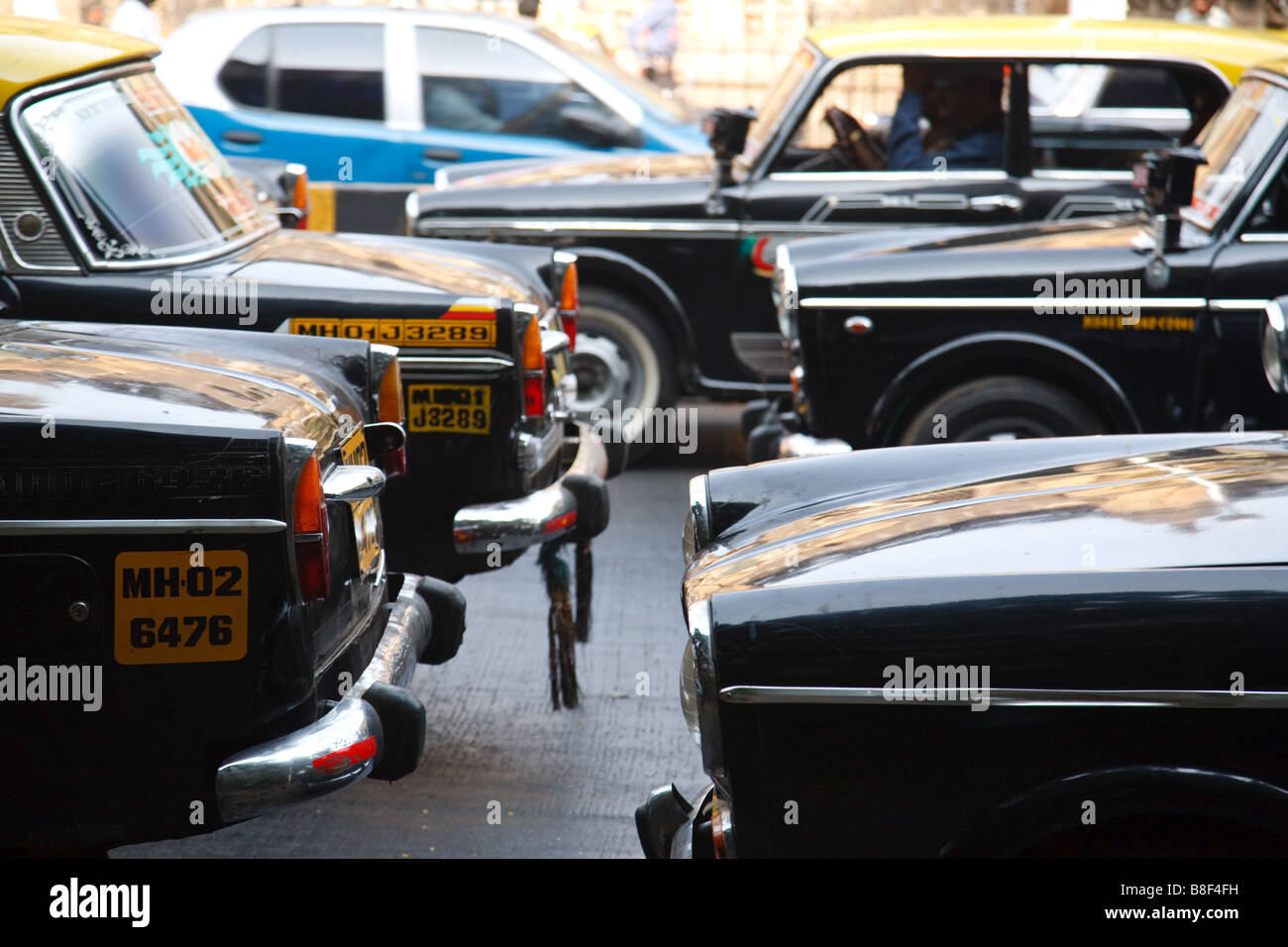 Premier Padmini taxi cars in the street of Mumbai, India - Stock Image