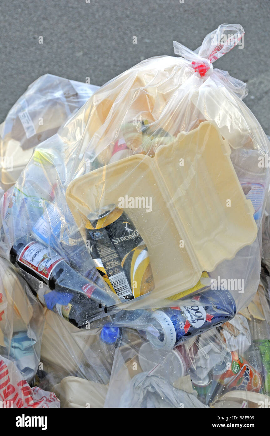 Bag of rubbish some of which could be recycled destined for landfill London England UK Stock Photo