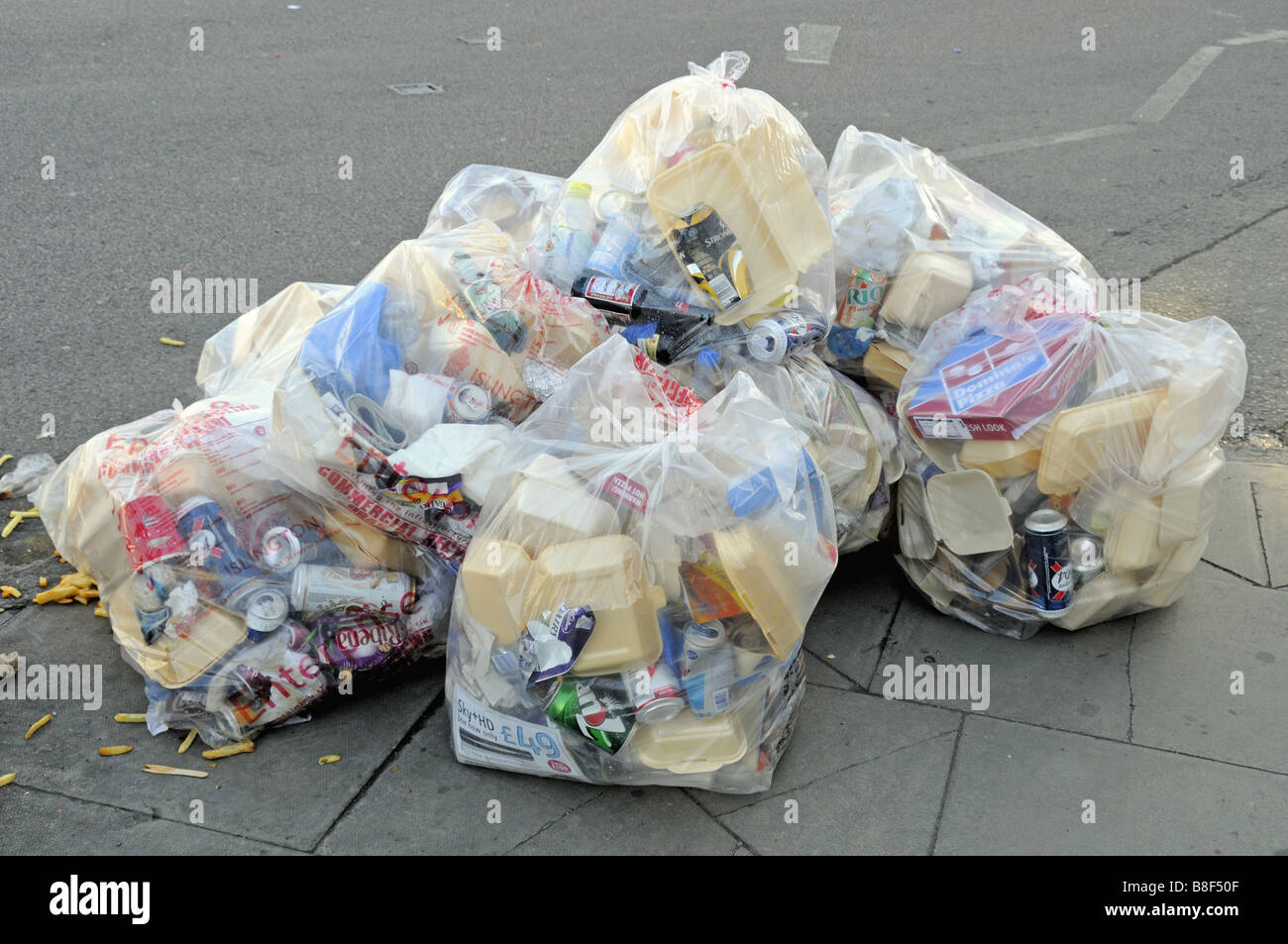 Bag of rubbish some of which could be recycled destined for landfill London England UK - Stock Image