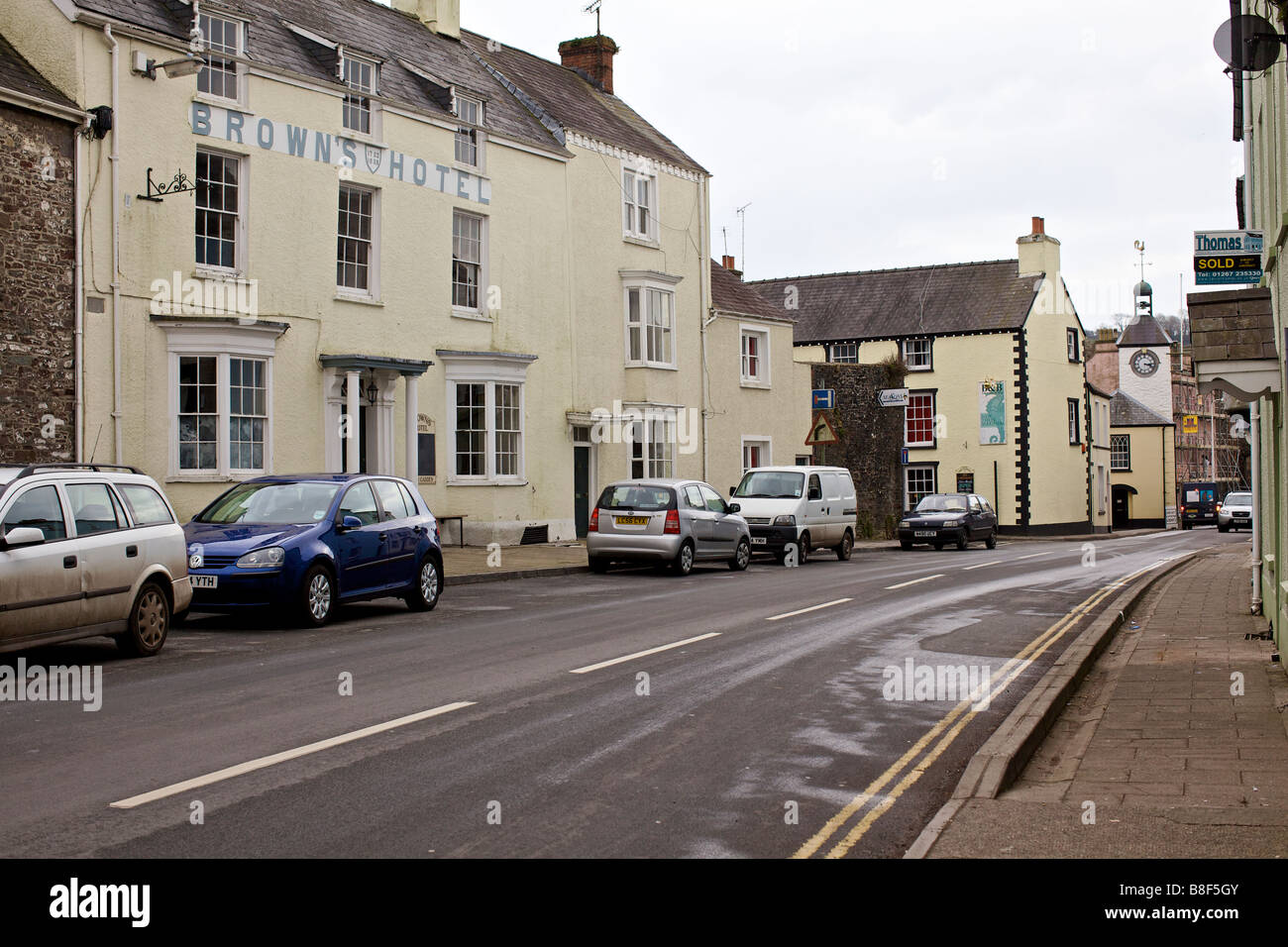 Browns Hotel, in Laugharne, south Wales – hard-drinking poet Dylan Thomas' favourite pub - Stock Image