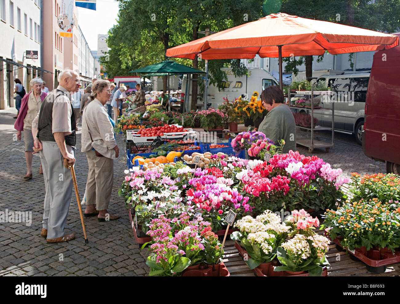 Market stall in street selling local produce Neubrandenburg Germany - Stock Image