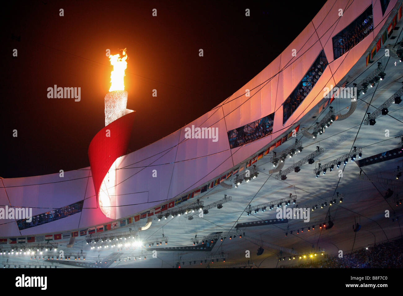 Flaming Torch On National Stadium,Beijing,China Stock Photo