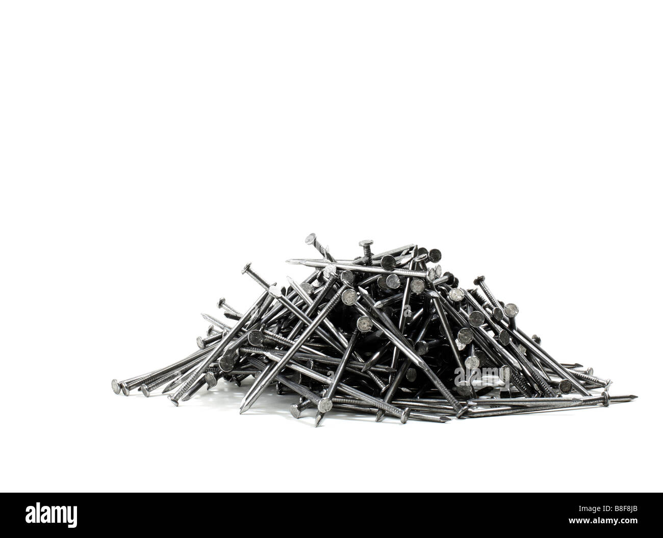 Stack of Construction nails - Stock Image