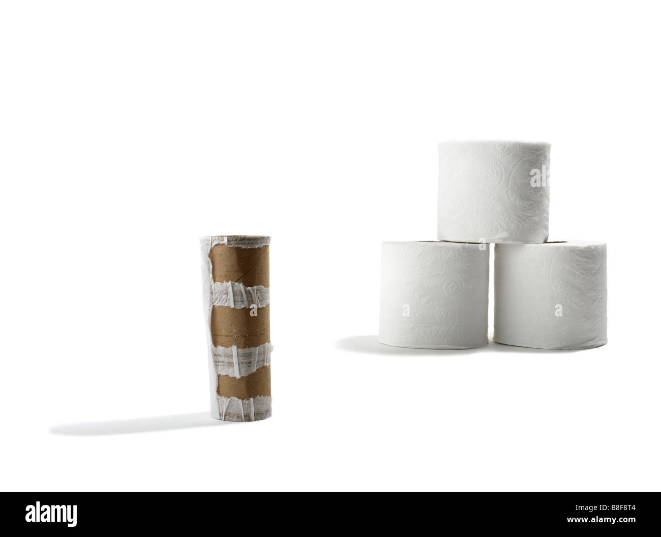 Rolls of Toilet Paper with Empty Roll in Foreground - Stock Image