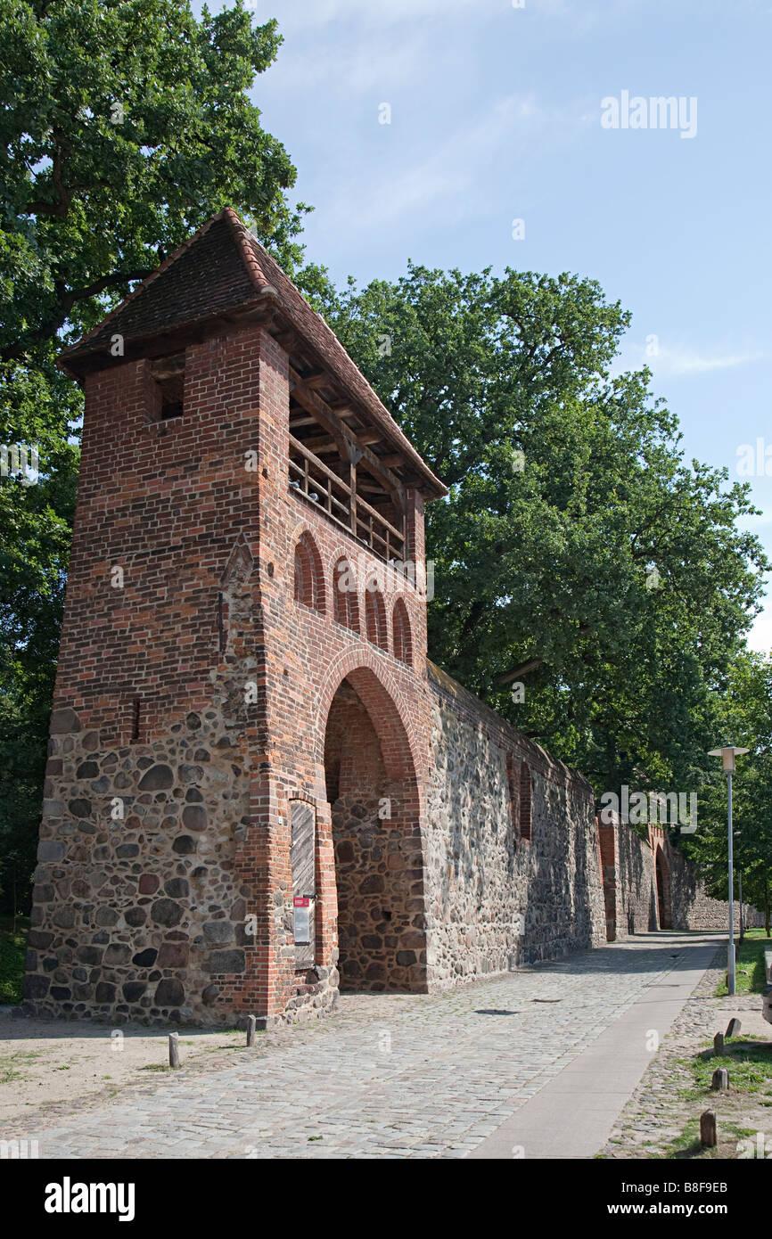 Wiek House defensive tower built into the city wall Neubrandenburg Germany - Stock Image