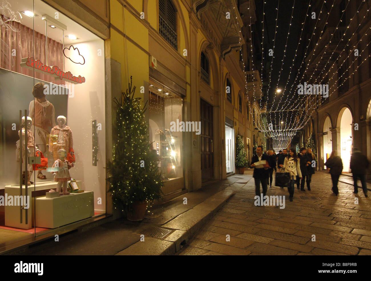 Via monte napoleone via della spiga Luxury fashion - Stock Image