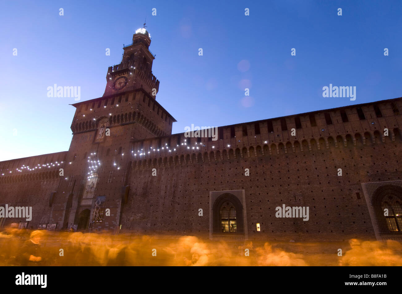 Castello Sforzesco Milan Italy with light installation - Stock Image