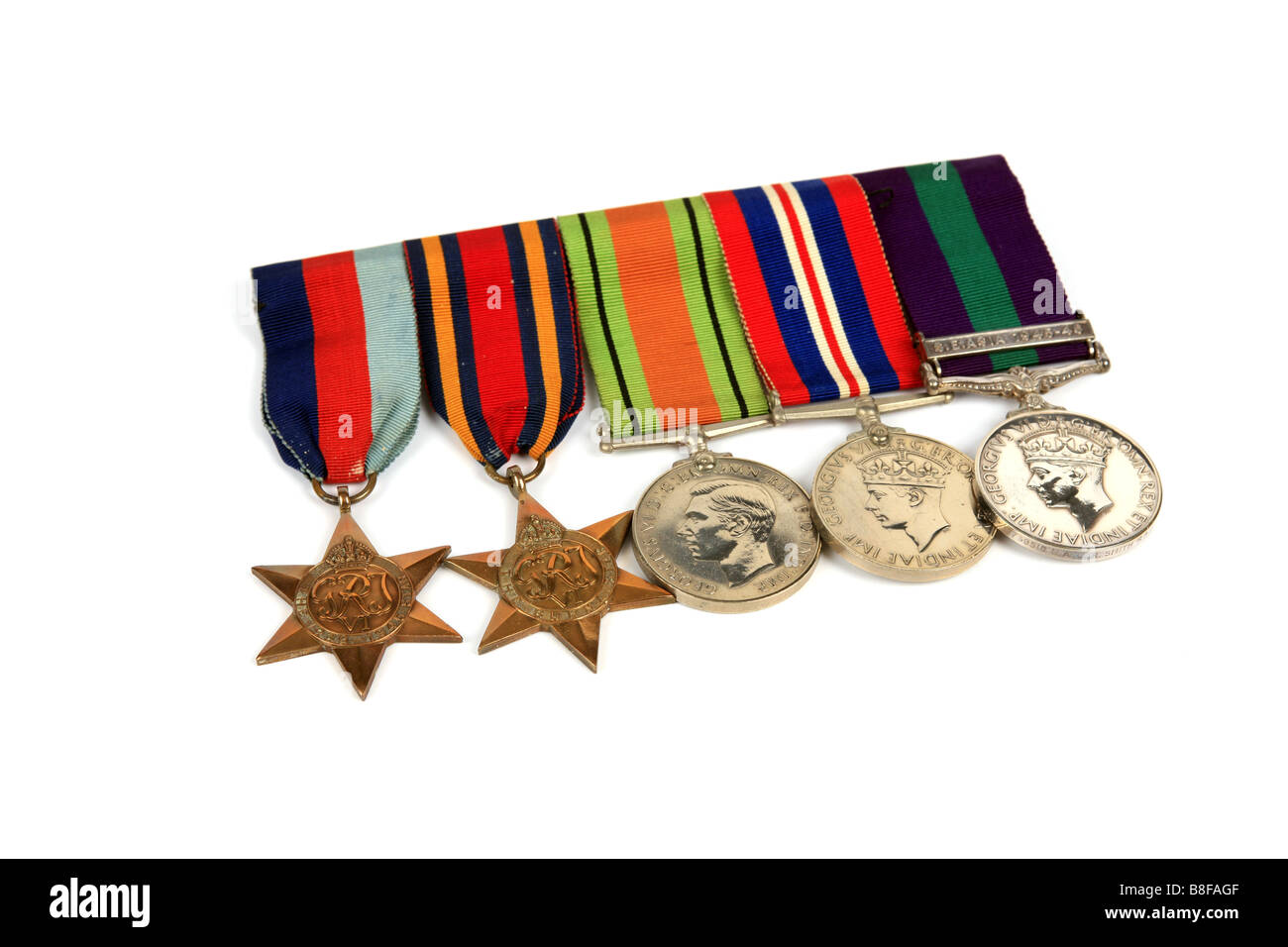 Group of British WW2 Medals against a white background - Stock Image