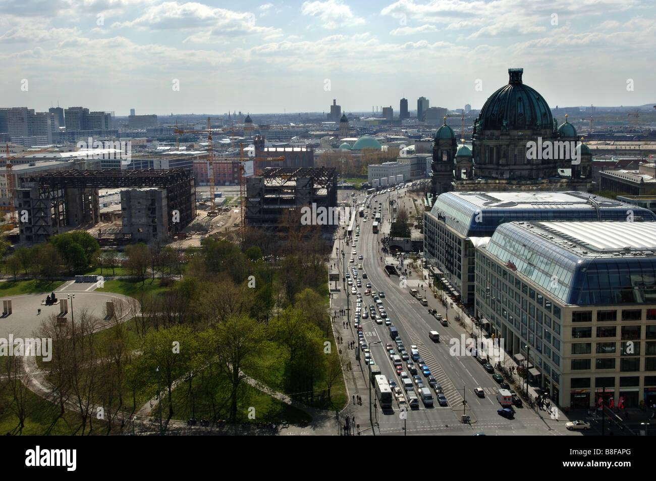view from st. marien church to palace of the republic berlin germany unter den linden - Stock Image