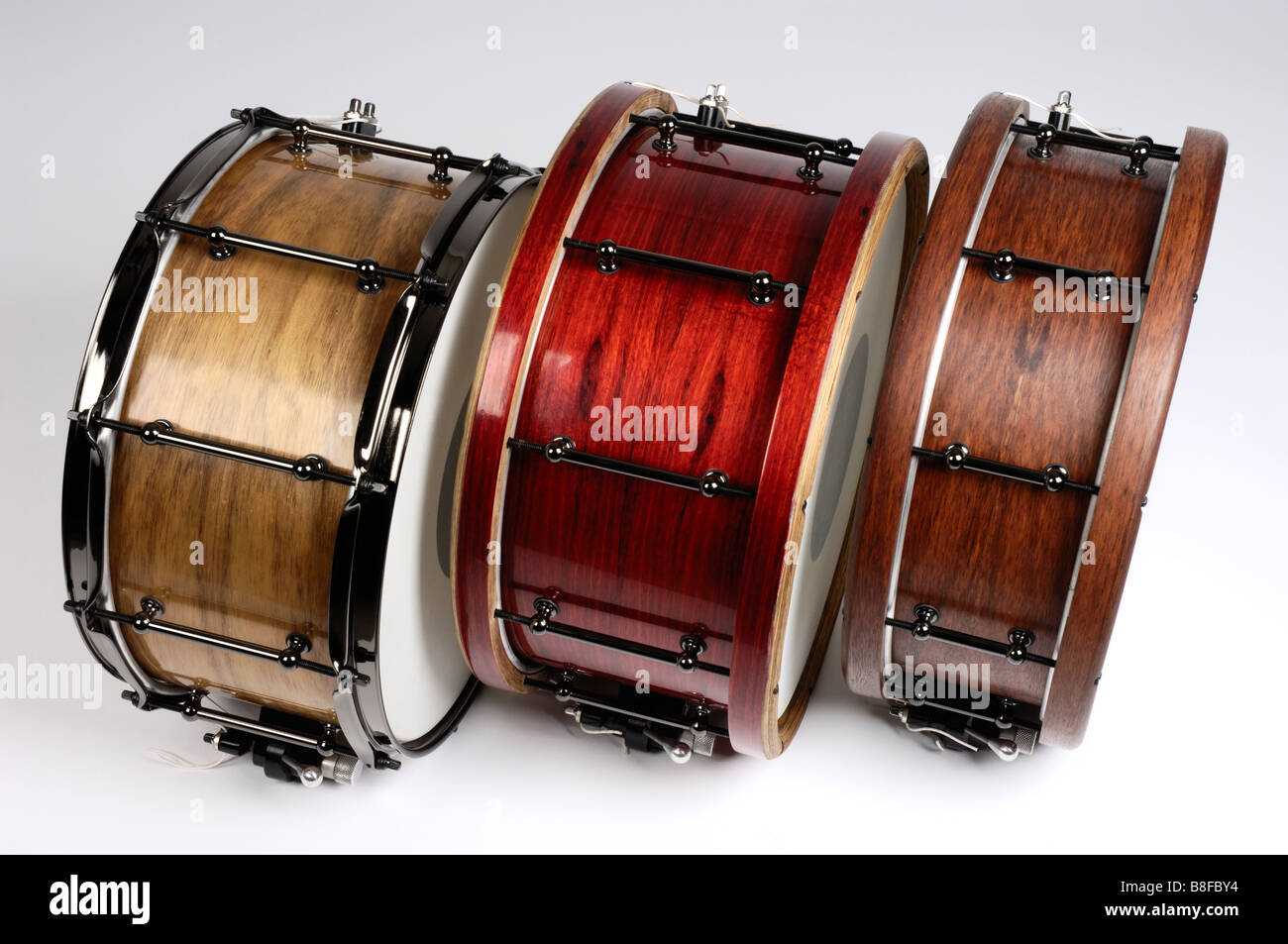 Hand made snare drums made with Australian timber veneer by