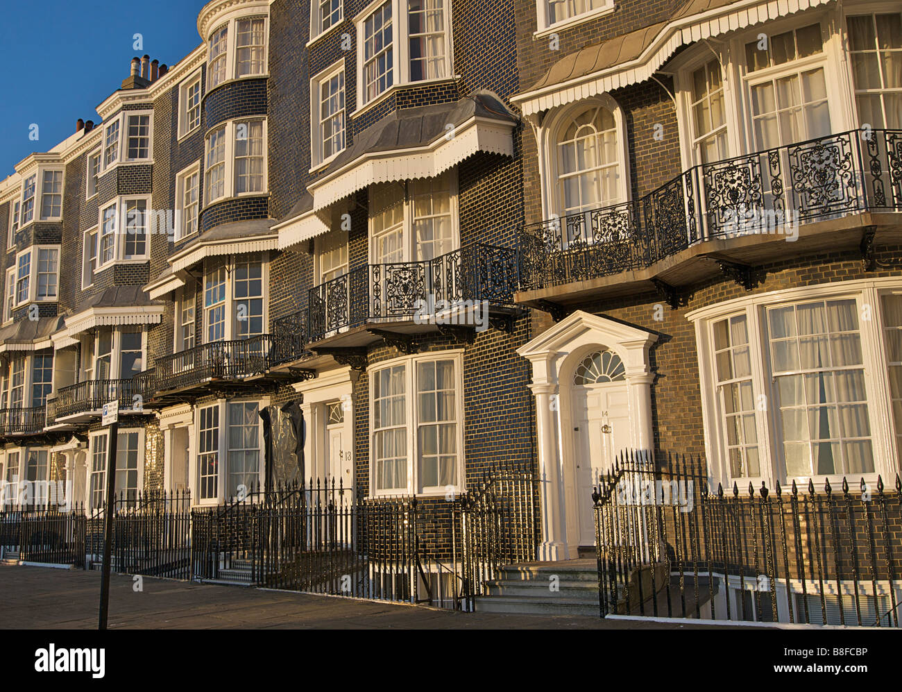 Royal Crescent, Brighton. Grade I listed Regency architecture. A rare example of mathematical tiling. England - Stock Image