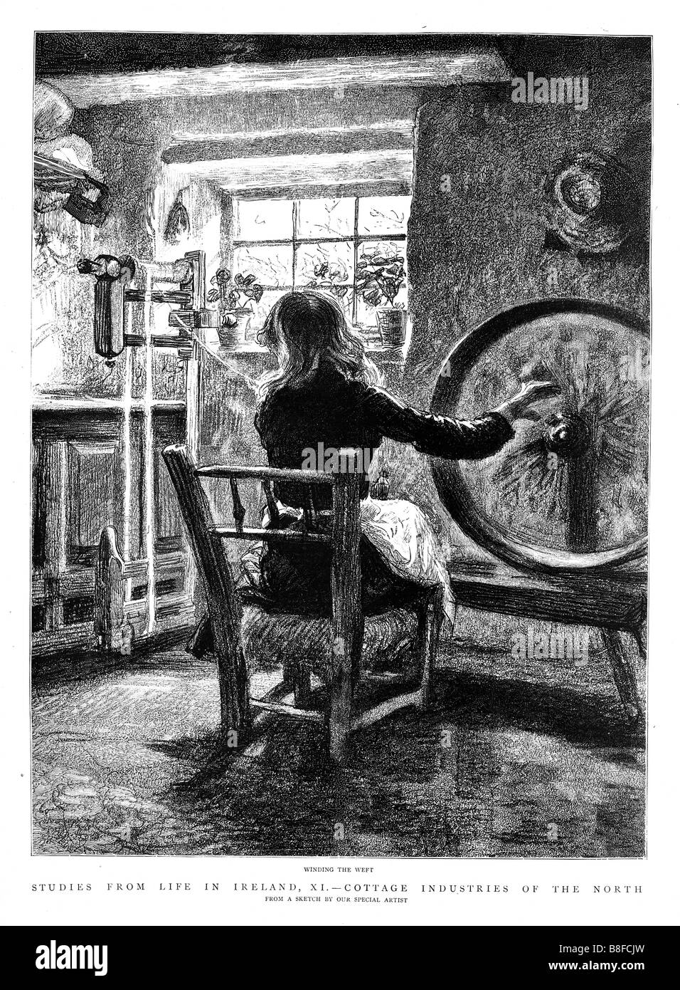 Irish Weaving 1888 engraving of a cottage industry in the North of Ireland Winding the Weft - Stock Image