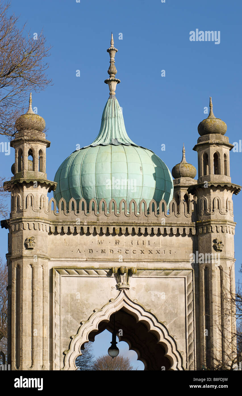 North Gate to the Royal Pavilion Gardens, Brighton, England. Built by Joseph Good in 1832 for King William IV - Stock Image