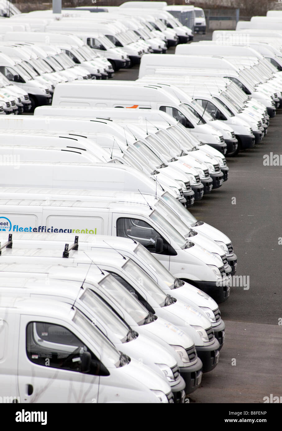 New LDV white vans in a compound at the Birmingham factory.  LDV are owned by GAZ and are the target of a management - Stock Image