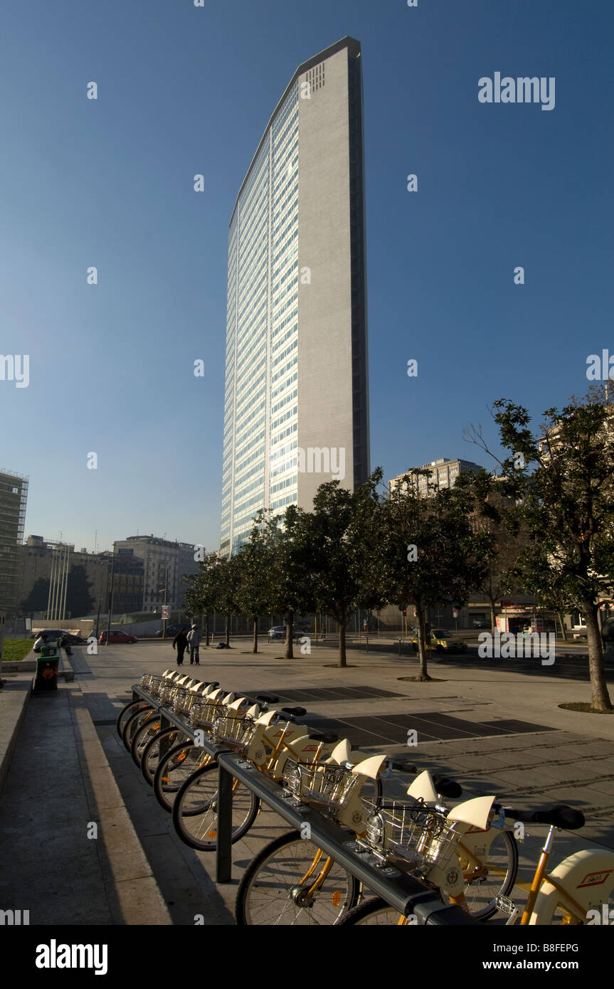 Pirelli tower milan italy central station - Stock Image