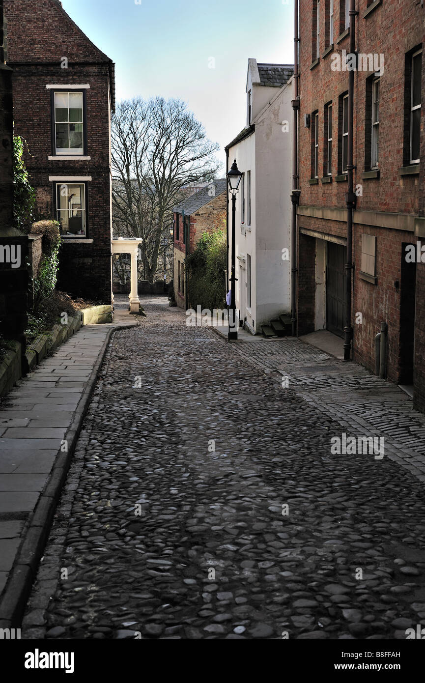 Cobbled street leading to Kingsgate Bridge in Durham UK - Stock Image