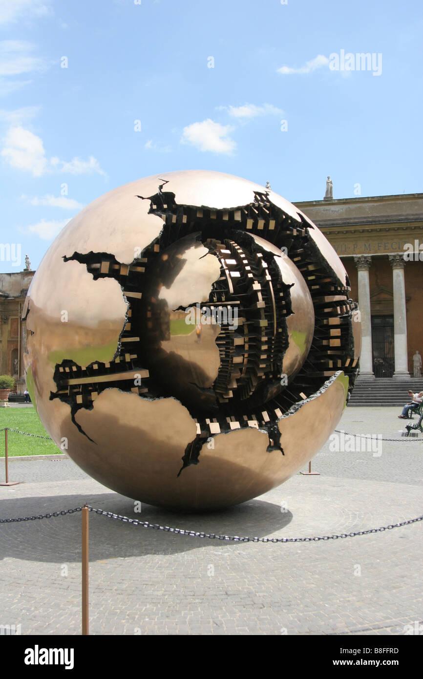 Modern Art Golden Globe In Vatican City Rome Stock Photo