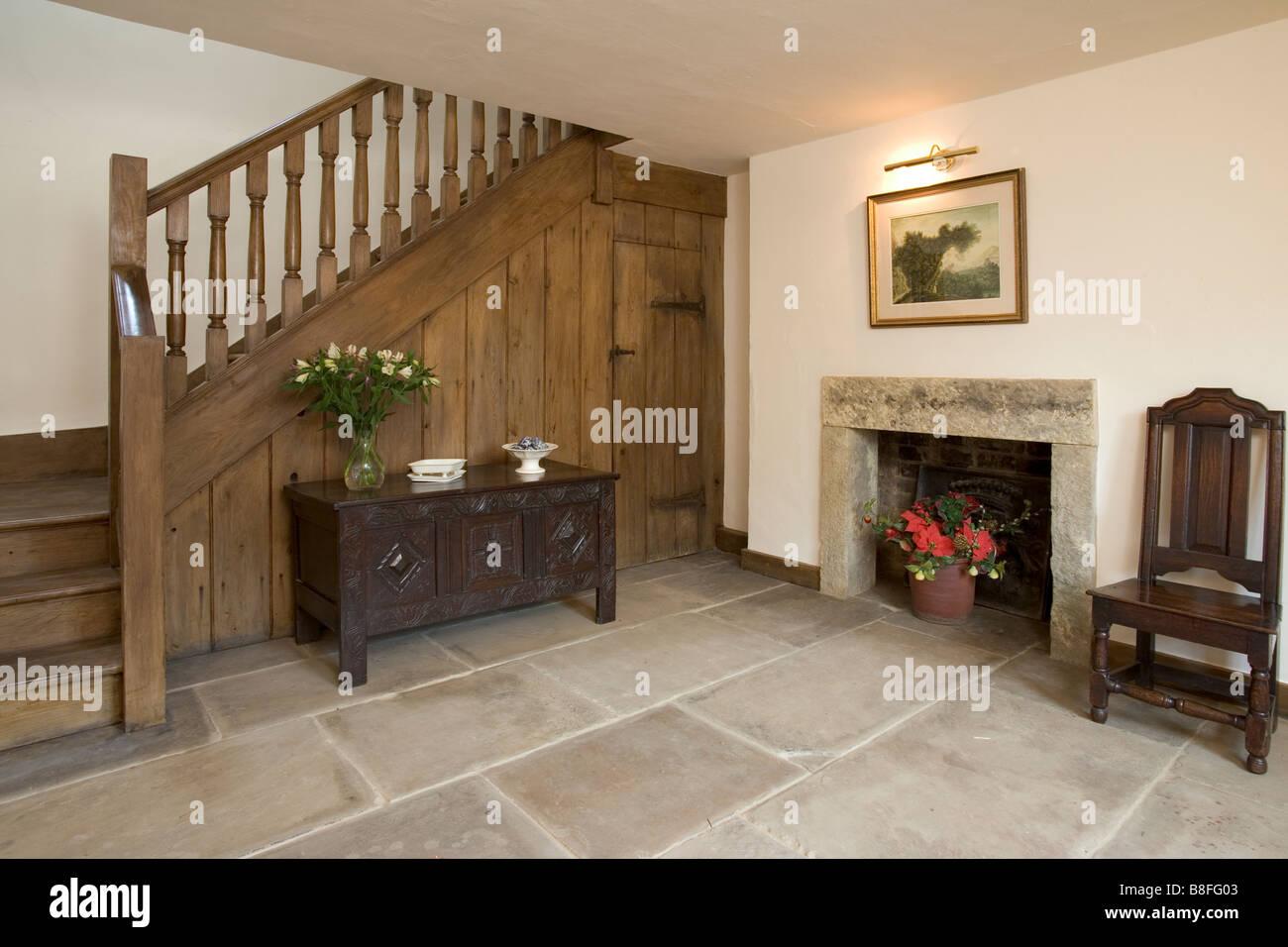 A House Interior, Entrance Hall, Flagstone Floor.   Stock Image