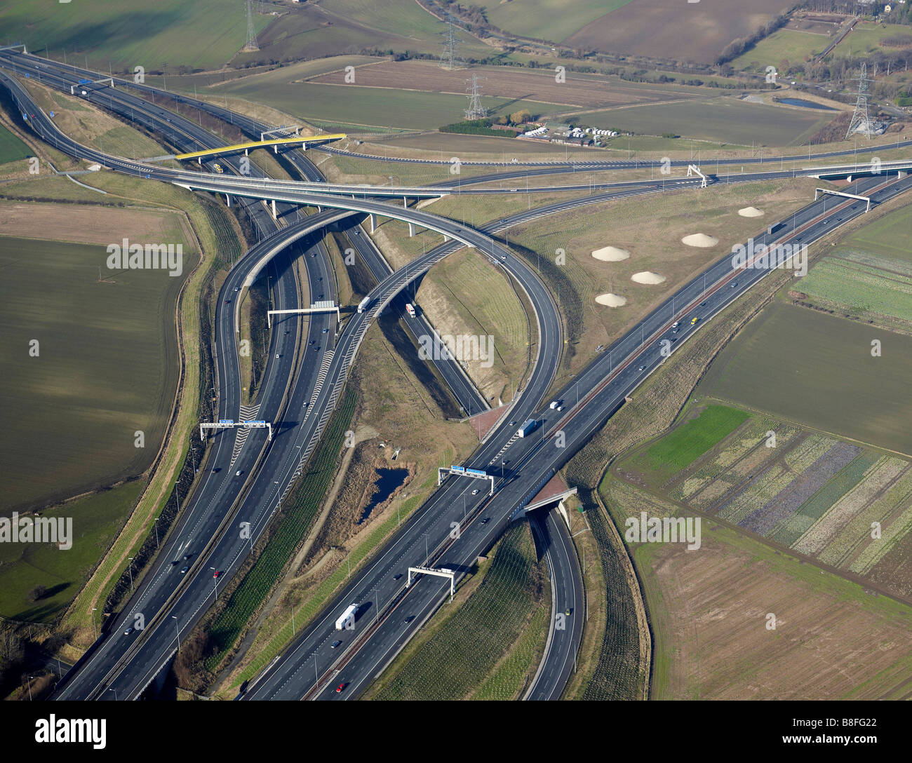 Motorway Interchange, A1-M62, Ferrybridge, West Yorkshire, Northern England - Stock Image