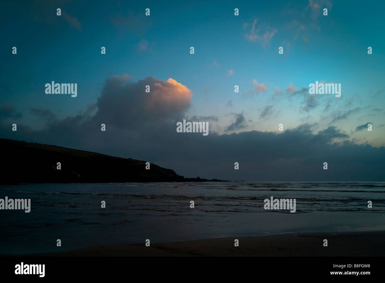 Looking across the Erme Estuary Devon England  at low tide on a winter evening - Stock Image
