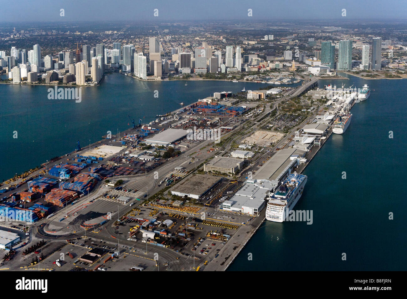 aerial view above Dodge Island Port of Miami Biscayne Bay Florida - Stock Image