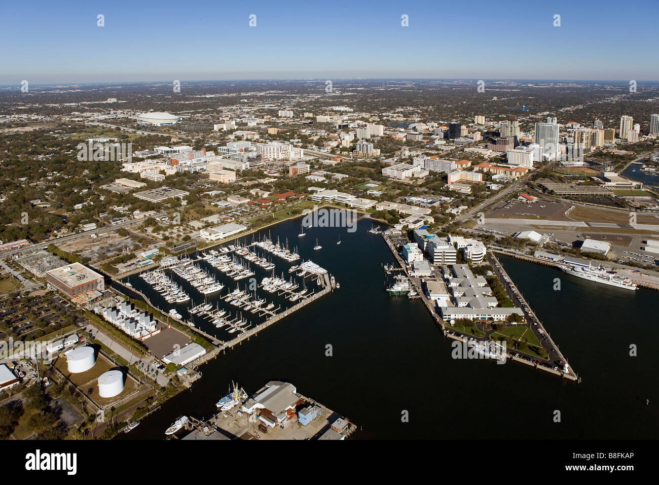 aerial view above marinas skyline St. Petersburg Florida - Stock Image