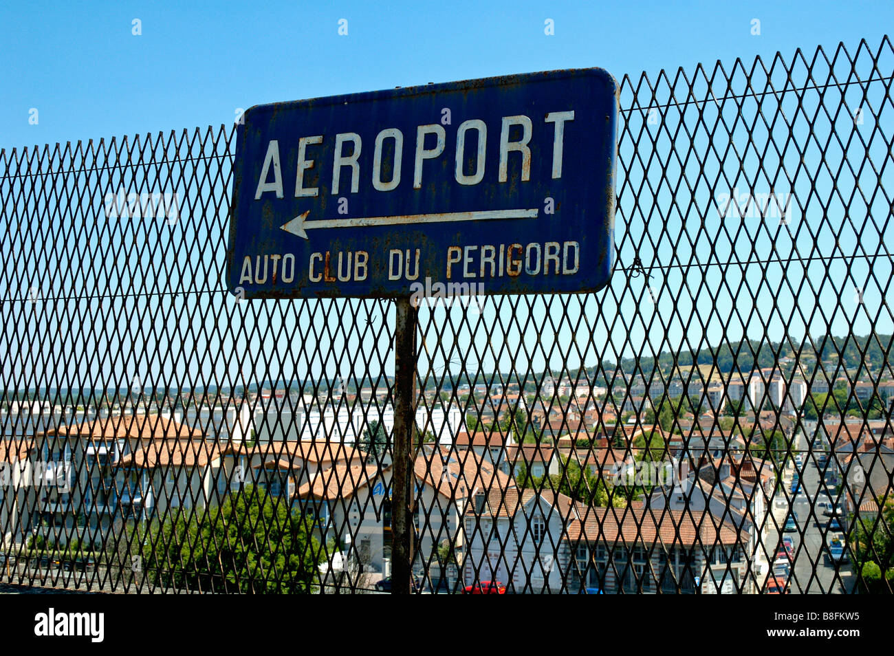 Old rusty vintage Airport sign. Perigord, Dordogne, W. France. Stock Photo