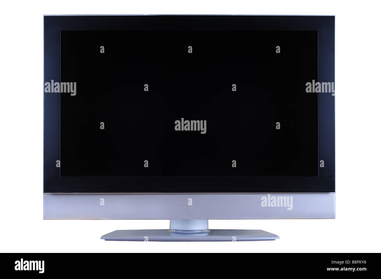 Silver and black LCD TV set isolated on white background. - Stock Image