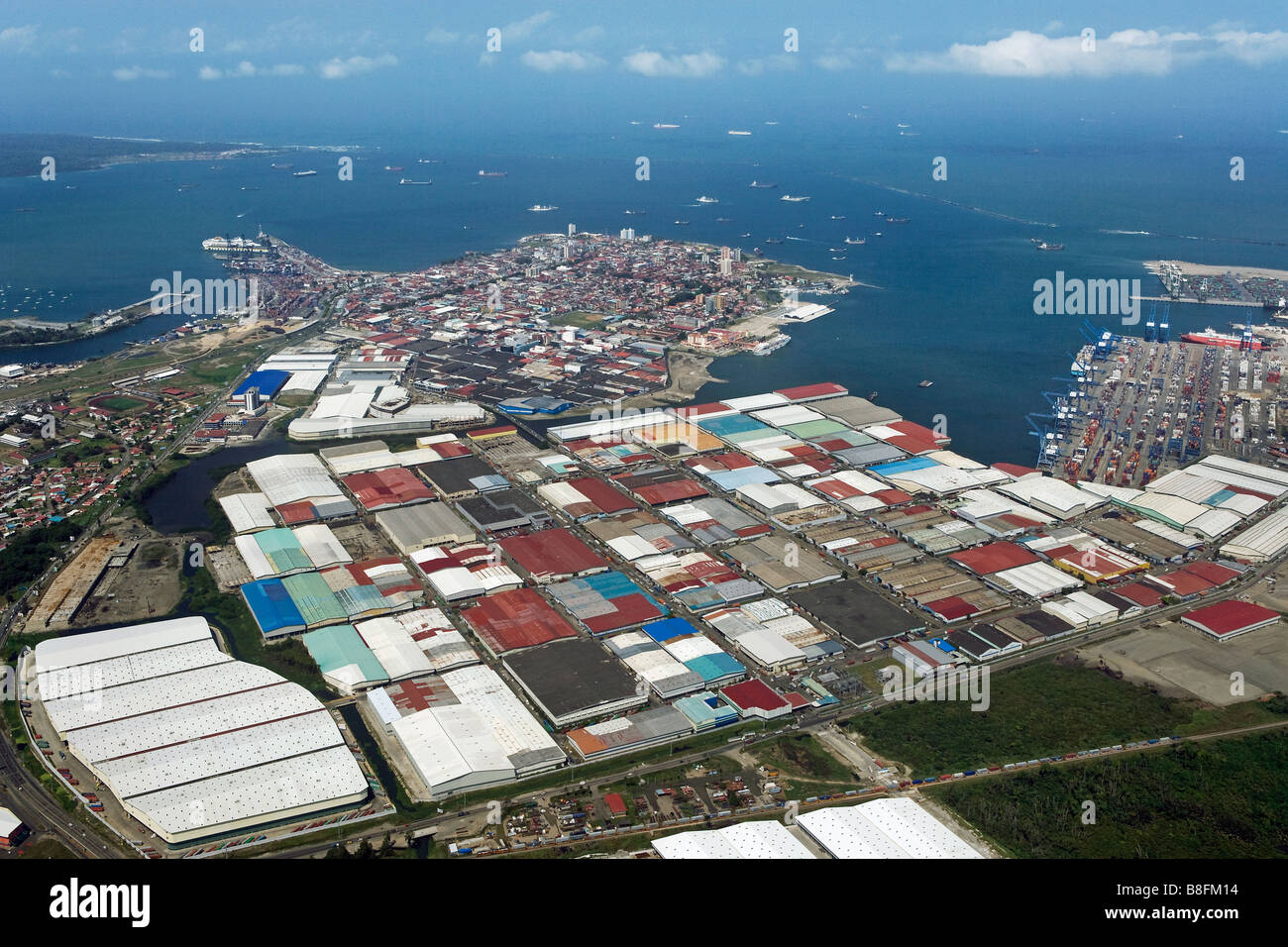 aerial above Colon Free Trade Zone Panama Cristobal Port Atlantic entrance to Panama Canal - Stock Image