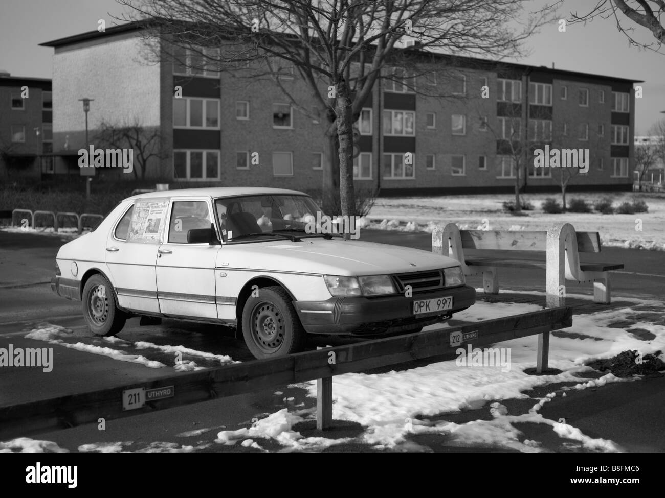 Parked SAAB 99 in Helsingborg, Sweden. Picture taken during their big crisis in February 2009.  FOR EDITORIAL USE - Stock Image
