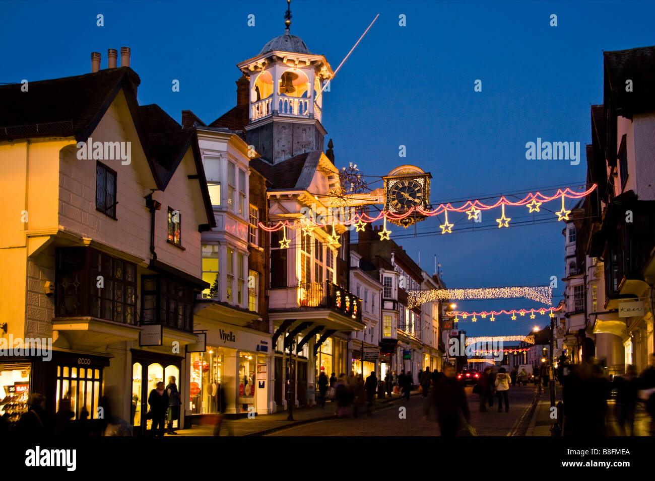 Guildford High Street, Christmas Shoppers, Surrey England UK - Stock Image
