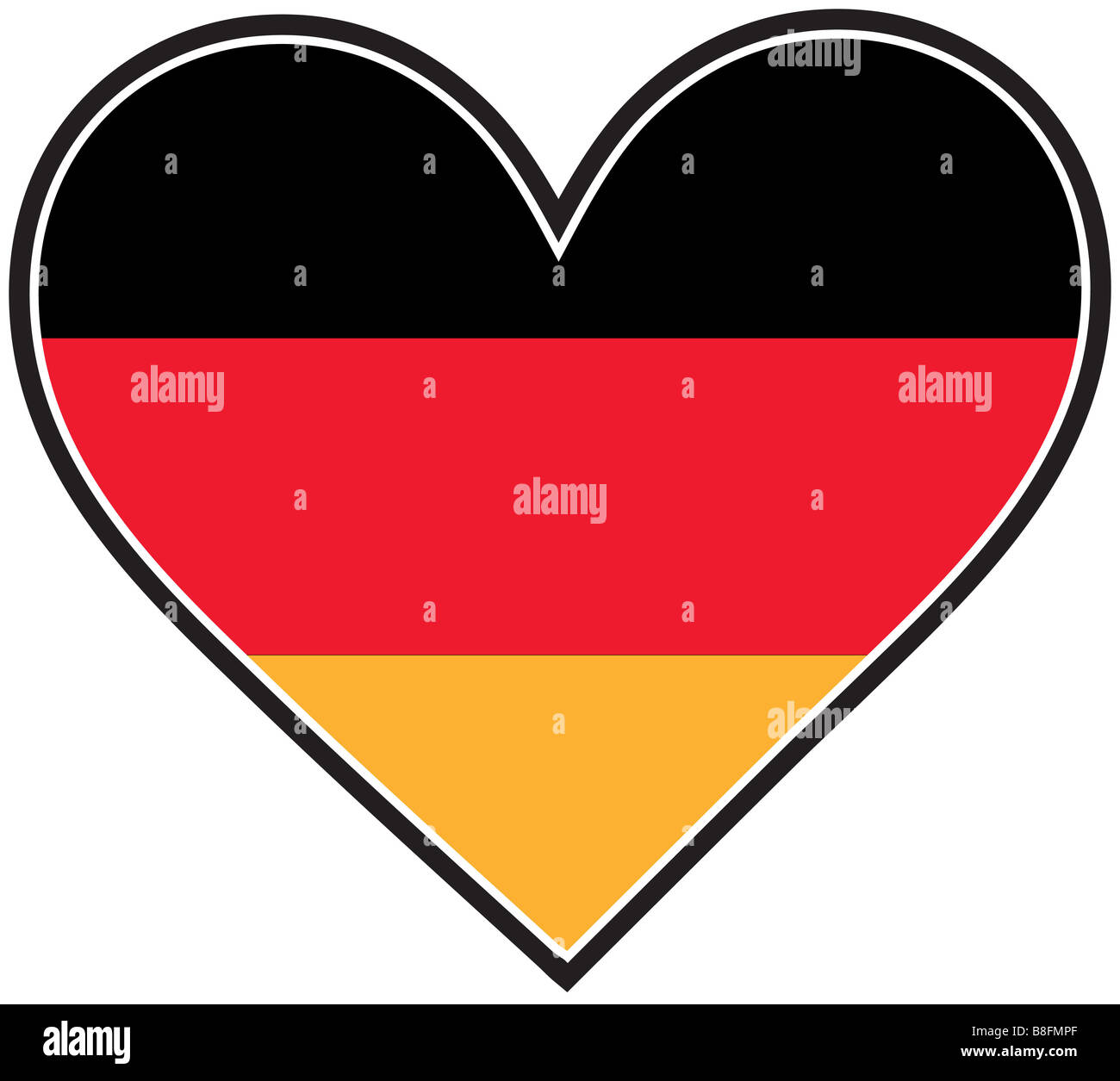 A German flag shaped like a heart - Stock Image