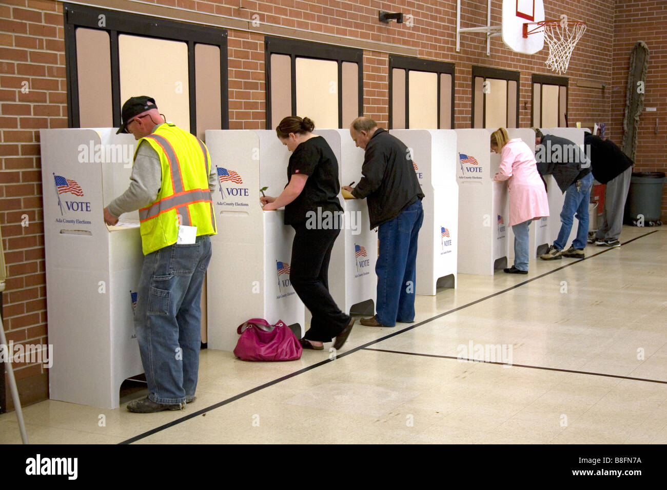 Voters use cardboard voting booths at a polling station in Boise Idaho USA - Stock Image
