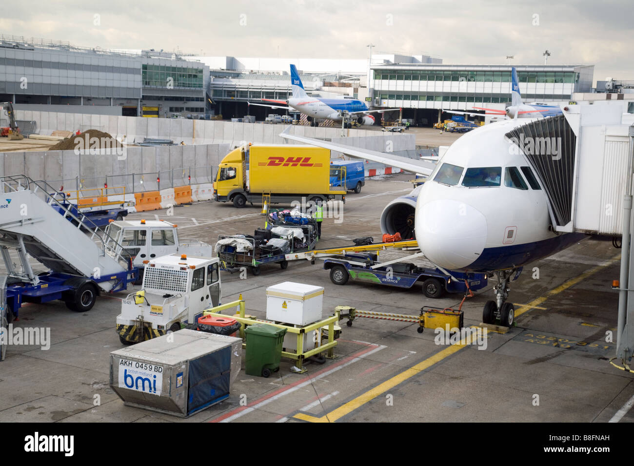 A BMI plane on the tarmac at Terminal 1, Heathrow airport, London, UK - Stock Image